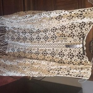 Cream flower shrug with fringe bottom